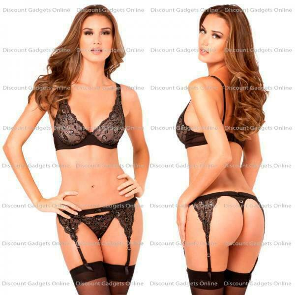 976ba856a10 Rene Rofe Lingerie 3pc Lux Lace Garter   Thong Set Black Sizes S m ...