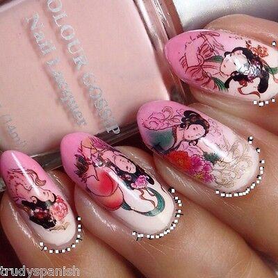 Nail Art Water Decals Transfers Wraps Decoration Floral Geisha Girls Japanese Ebay