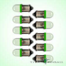(10 Pack) - 6.3 Volt LED Bulb Frosted 44/47 Bayonet Base (BA9S) Pinball - GREEN