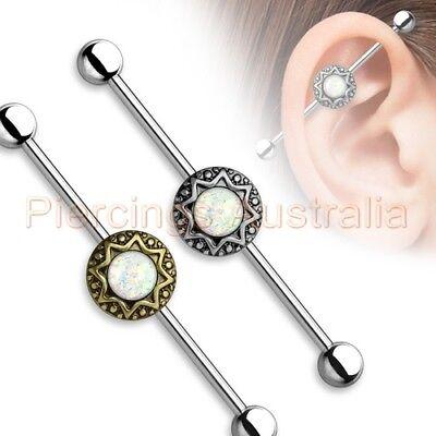 14G 38mm Opal Glitter Industrial Barbell Bar Ear Ring Body Piercing Jewellery