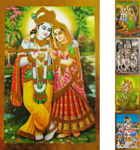 KRISHNA-Krischna-Radha-Krsna-Praegedruck-Altarbild-versch-Motive-Indien-Bhakti