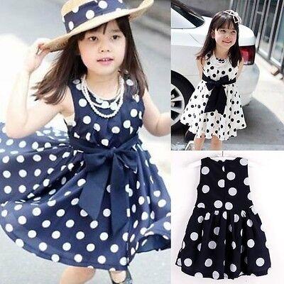 Kids Girls Polka Dot Chiffion Sundress Toddler Tunic Bowknot Belt Dress Skirts