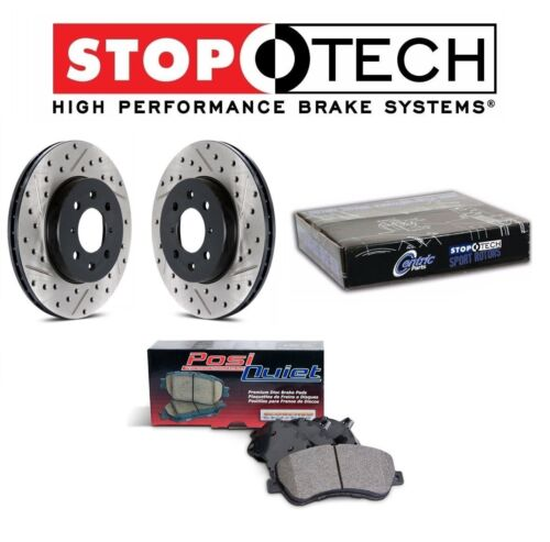 For Honda Acura Rear Drilled /& Slotted Brake Rotors Ceramic Pads KIT StopTech