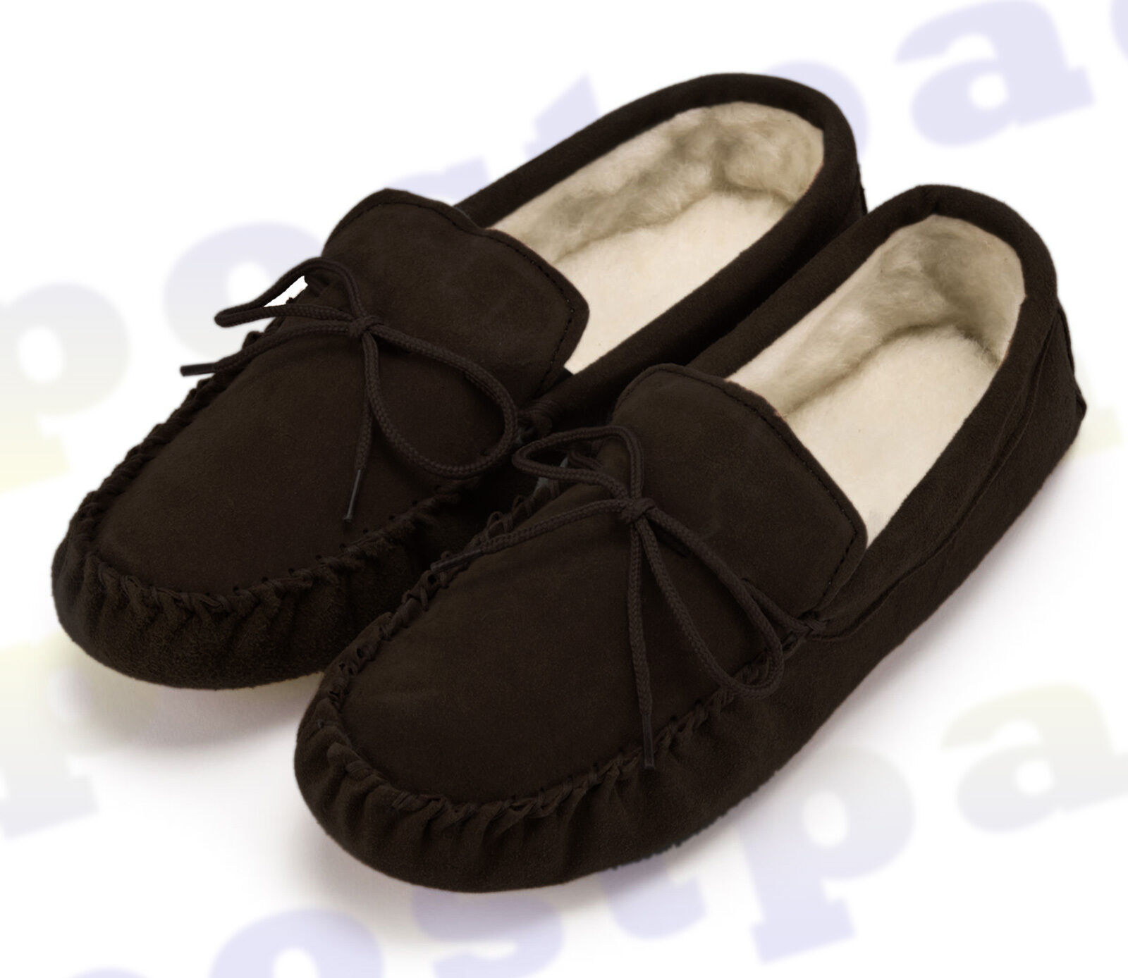 Hombre MOCCASIN SLIPPERS Genuine Sheepskin Suede Talla Lambswool Soft Sole - Talla Suede 8-12 7fa375