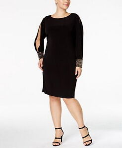 aed40a3615b Calvin Klein Plus Size Cold-Shoulder Embellished-Cuff Dress 20W  G38 ...