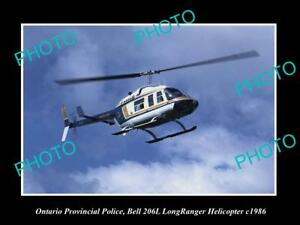 OLD-LARGE-HISTORIC-PHOTO-OF-ONTARIO-POLICE-BELL-LONGRANGER-HELICOPTER-c1986