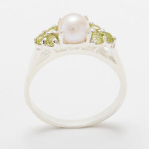 18ct-750-White-Gold-Full-Pearl-amp-Peridot-Womens-Cluster-Ring-Sizes-J-to-Z