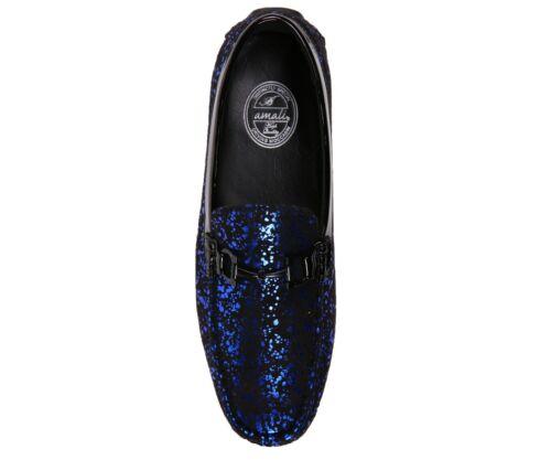 Style Monty Amali Homme métallique éclaboussures Microfibre Slip On Mocassin Conduite Chaussure