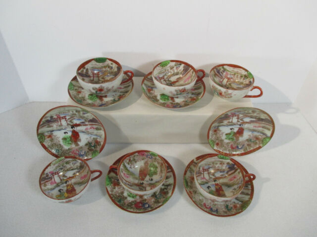 Japanese Kutani Cups Saucers Antique Hand Painted Eggshell Geisha 6 Sets 12pcs