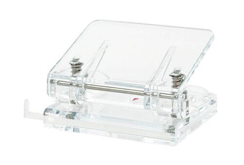 Wedo Cristallic-Hole Punch avec rail de guidage-Acrylique-Transparent