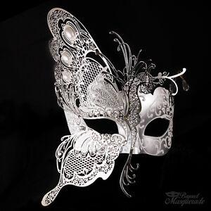 3d half butterfly design venetian masquerade mask for women silver