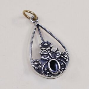 Vtg-Sterling-Silver-Handmade-Pendant-solid-925-silver-w-Obsidian-stamped-925