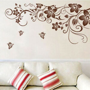 Blumen-Wandsticker-Natur-Schmetterling-Wandtattoo-WandAufkleber-Sticker-Folie