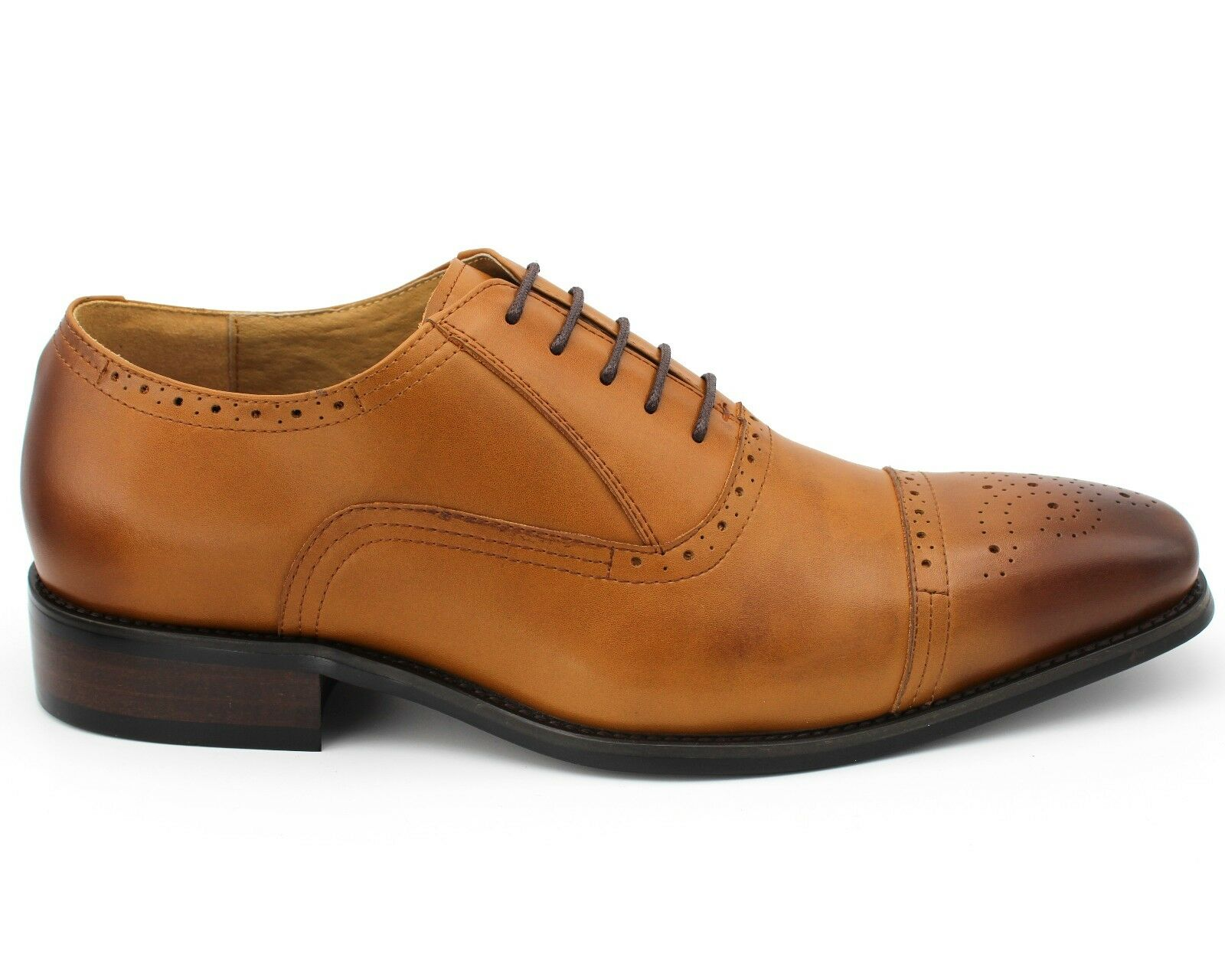 325 BRAND LEATHER NEW MEN'S TAN BROWN ANTIQUE LEATHER BRAND LACE UP SMART Schuhe UK 9 / EU 43 8881ff