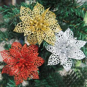 10Pcs-Artificial-Hollow-Glitter-Christmas-Flower-Xmas-Tree-Wedding-Party-Decor