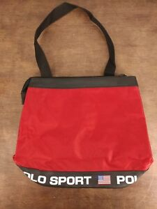 990cc5453488 Vintage Ralph Lauren Polo Sport Nylon Tote Bag Red Black Shoulder ...