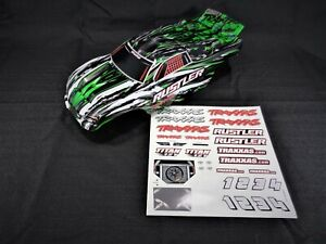 New-Traxxas-Rustler-Painted-Green-Black-White-Body-Shell-Lid-and-Decals-XL-5-VXL