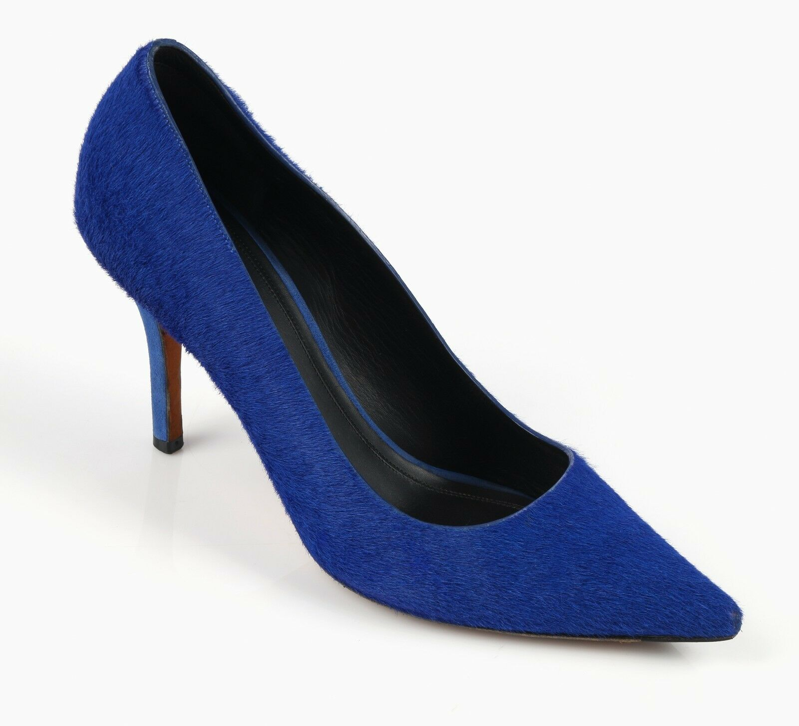 CELINE PARIS COBALT blueE PONY HAIR SUEDE HEEL POINTED TOE PUMPS HEELS MSRP  720