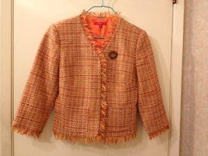 4 Allen Ved Size Abs Schwartz Tweed Trim Fringe Jacket Orange Multi q7pB6