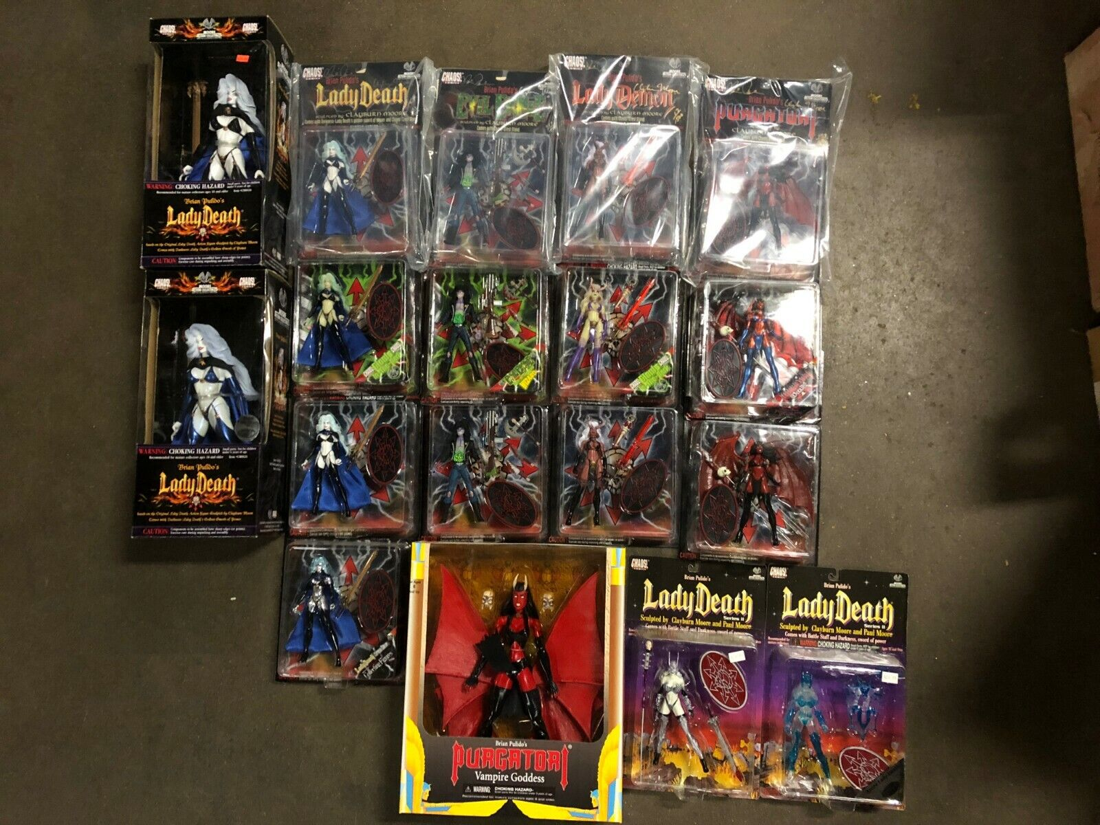 Chaos Comics Brian Pulido Moore Collectibles 1997 Action Figures LOT OF 18 NEW