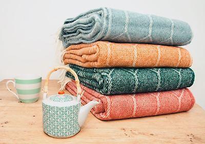 Churchpane 100/% wool blanket throw Emerald Oak Cranberry or Petrol Made in UK