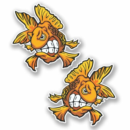 2 x Goldfish Fish Vinyl Sticker Laptop Travel Luggage Car #5651