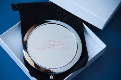 2 PERSONALIZED COMPACT MIRRORS BRIDESMAID GIFTS BRIDAL SHOWER FREE ENGRAVING