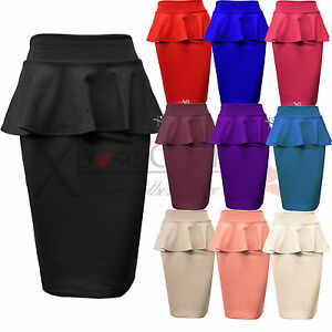 Image Is Loading Las Womens Peplum Pencil Skirts Bodycon Stretch Frill