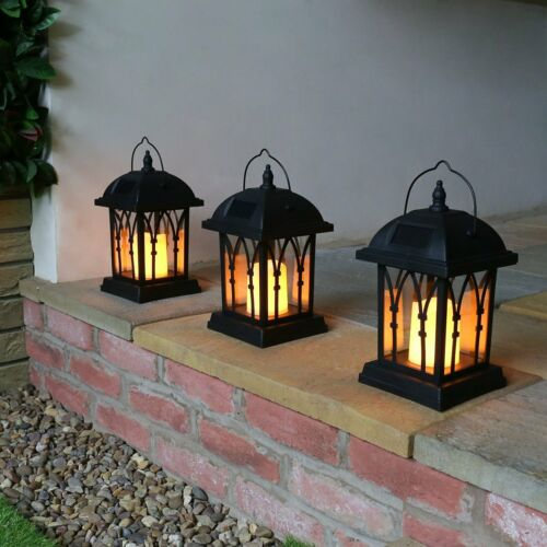 Solar Power Outdoor Garden Flickering LED Candle Lantern LightTraditional