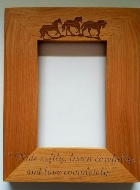 6 Personalized Laser Engraved 4x6 Wood Picture Frame Running Horses ...