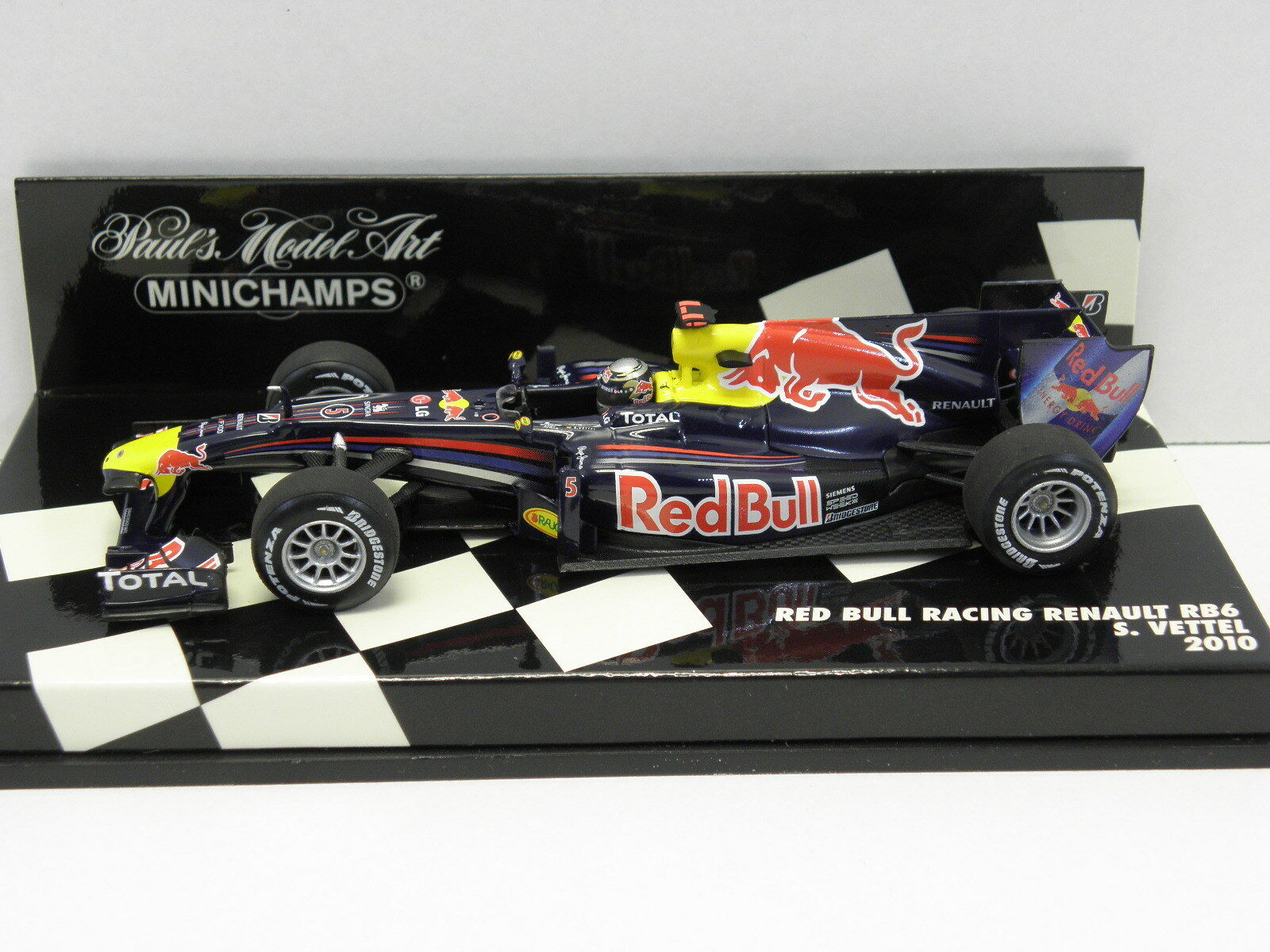 MINICHAMPS 410100005 Standmodell rot BULL RACING RENAULT RB6 Vettel 2010 M.1 43  | Passend In Der Farbe