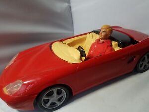 Vintage-Ken-Doll-1968-Blonde-Hair-1998-Mattel-Barbie-Red-Convertible-Toy-Car