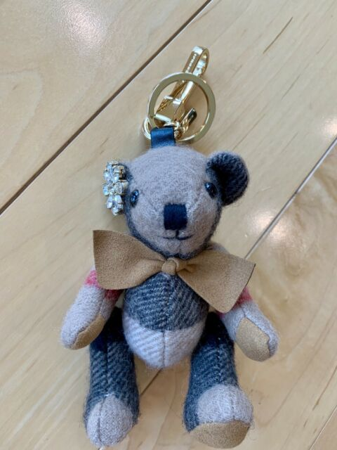 cute cheap best loved great look Authentic Burberry Thomas Bear Check Cashmere Keychain Key Ring Bag Charm