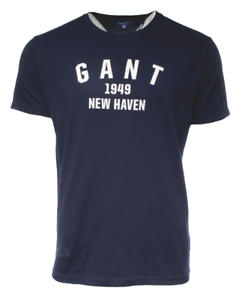 GANT-Mens-039-Crew-Neck-OP2-Graphic-Printed-SS-T-Shirt-Cotton-All-Sizes-in-Navy