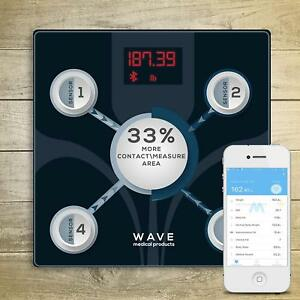 WAVE-Smart-Digital-Bathroom-Weight-Fat-Scale-Body-BMI-Mobile-Fitbit-Bluetooth