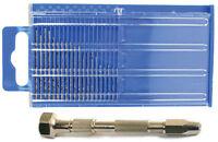 21pc Micro-drill Bit Set Index 61-80 With Swivel Head Pin Vise
