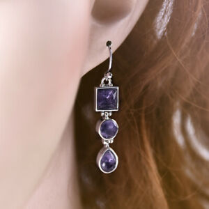 New-Women-925-Silver-Amethyst-Square-Round-Pear-Drop-Dangle-Hook-Earrings-Gift