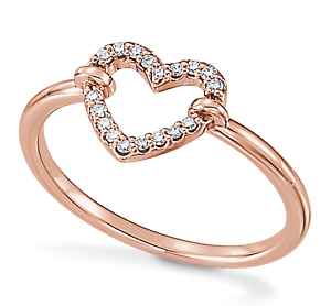 7dc435b045db9 Details about 14K Rose Gold White Diamond Heart Shape Ring Open Heart  Design Band .10ct
