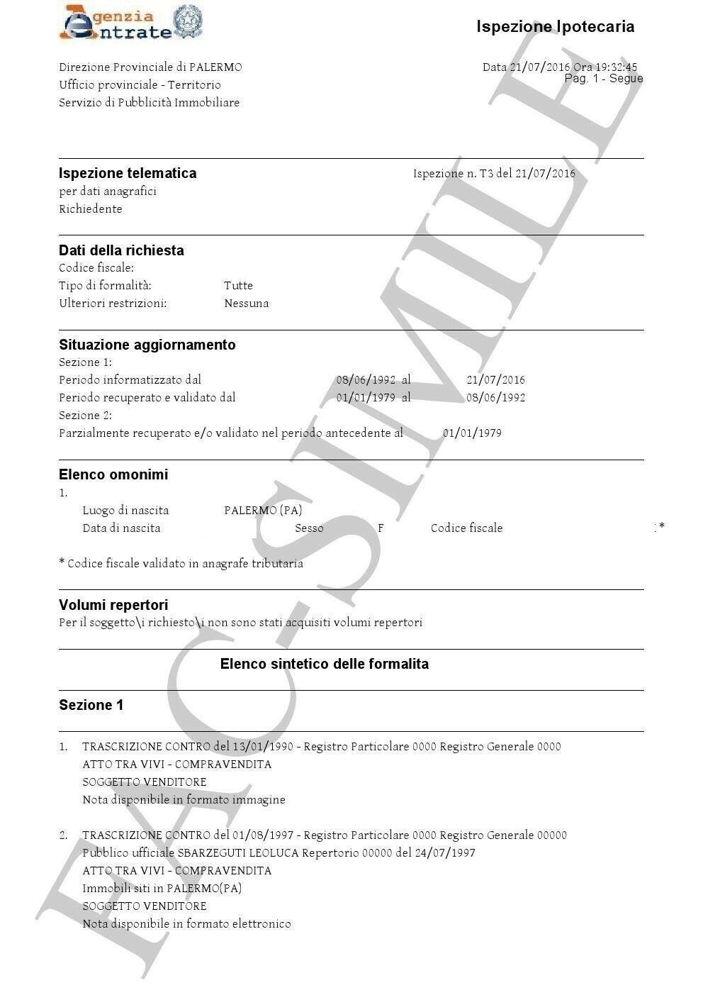 invio per mail VISURA ISPEZIONE IPOTECARIA Ufficiale Agenzia delle Entrate