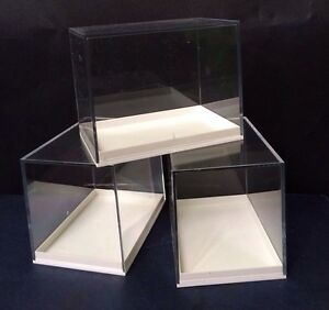 12  LARGE PERSPEX DISPLAY SPECIMEN BOXES FOSSILS, DIE CASTS, COLLECTABLES