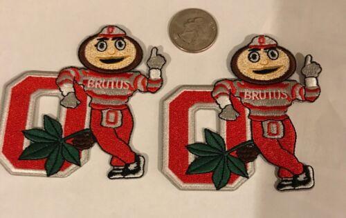 "2-OSU Ohio State Buckeyes Vintage RARE Embroidered Iron On Patches 3/""x 3"" Brutus"