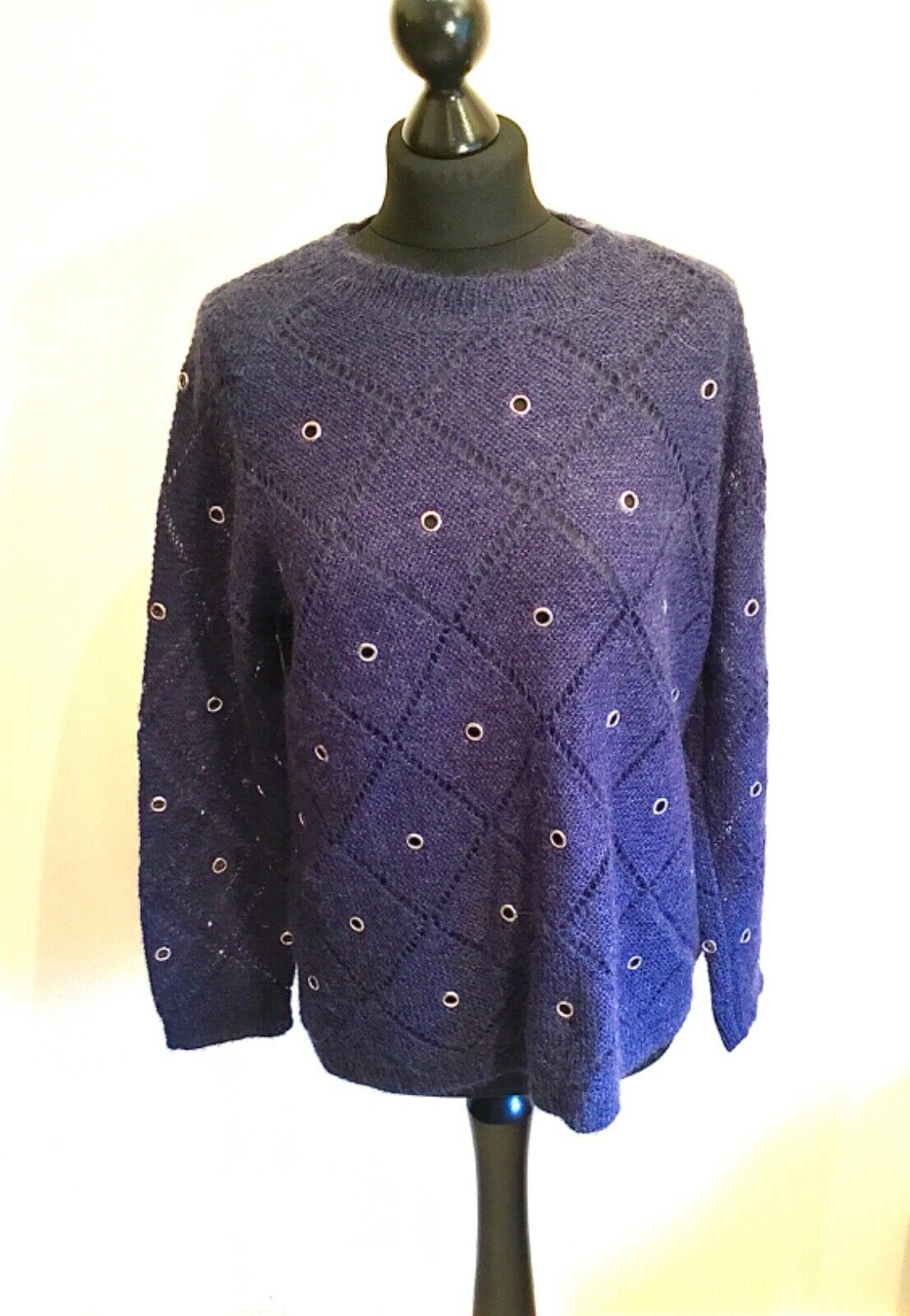 Fabulous Ladies Munthe bluee Mohair Mix Sweater Jumper Size 38