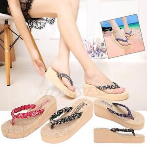 224a754d91e237 Women Summer Boho Flip Flops Sandals Casual Wedge Clip Toe Beach ...
