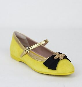 e8ff1cdc4d37 Gucci Girl Children s Yellow Suede Ballet Flats w Embroided Bee ...