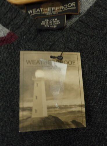 a con rosso Xl Nwt Vneck Uomo grigio Maglione righe pullover e Weatherproof OqxR0AwHw