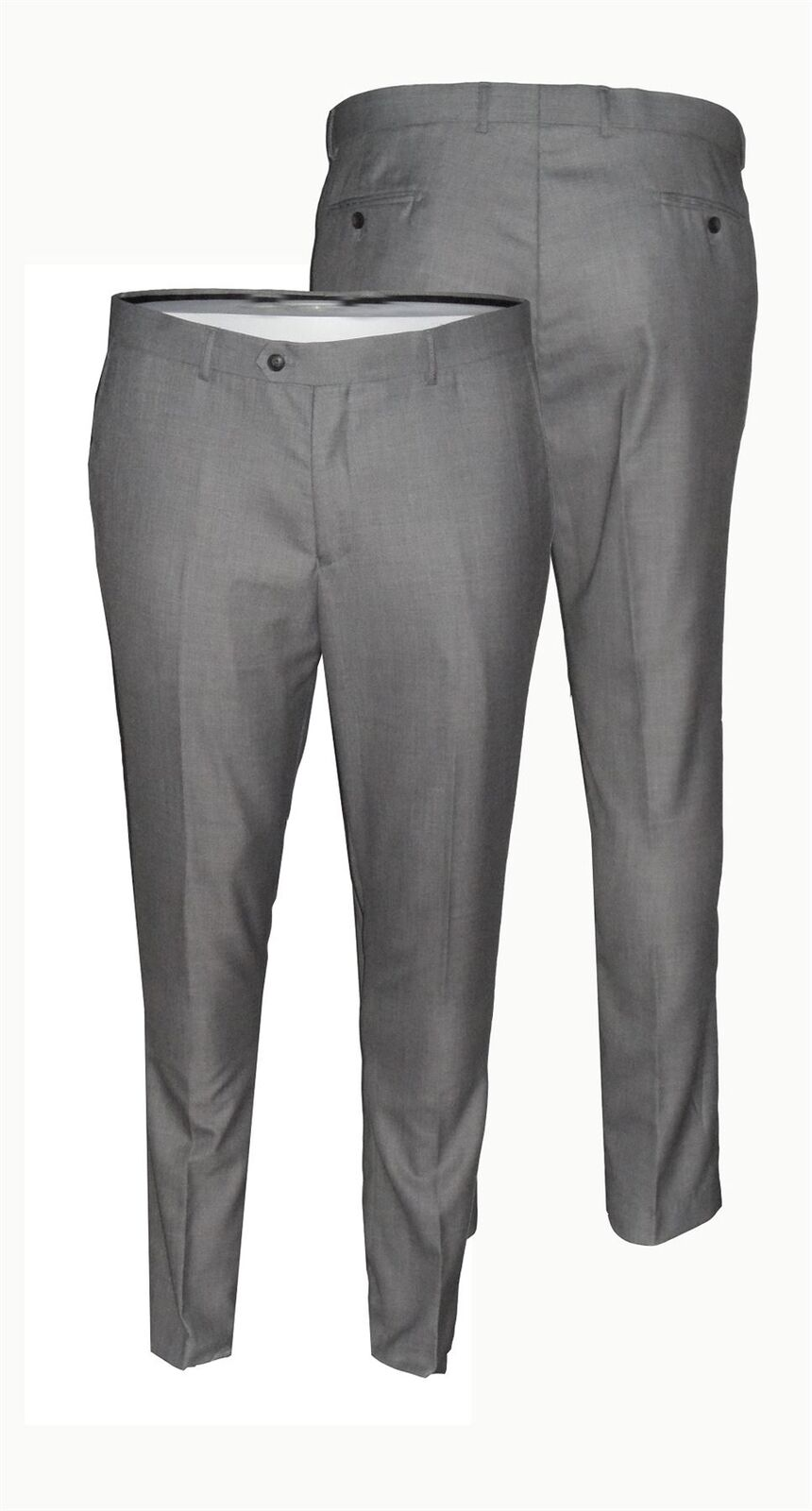 Mens Formal Classic Fit Suit Trousers in Grey (Reegan) in Waist 44 to 60, S R