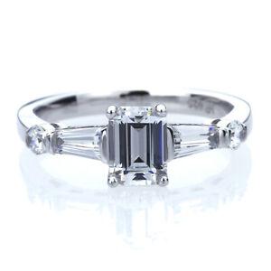 7mm-Platinum-Plated-Silver-1ct-CZ-Baguette-Wedding-Engagement-Ring-set