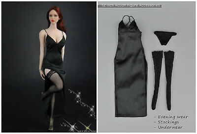 ZYTOYS ZY5025 1//6 Female Long Evening Dress Sling Deep V Skirt Clothing Set
