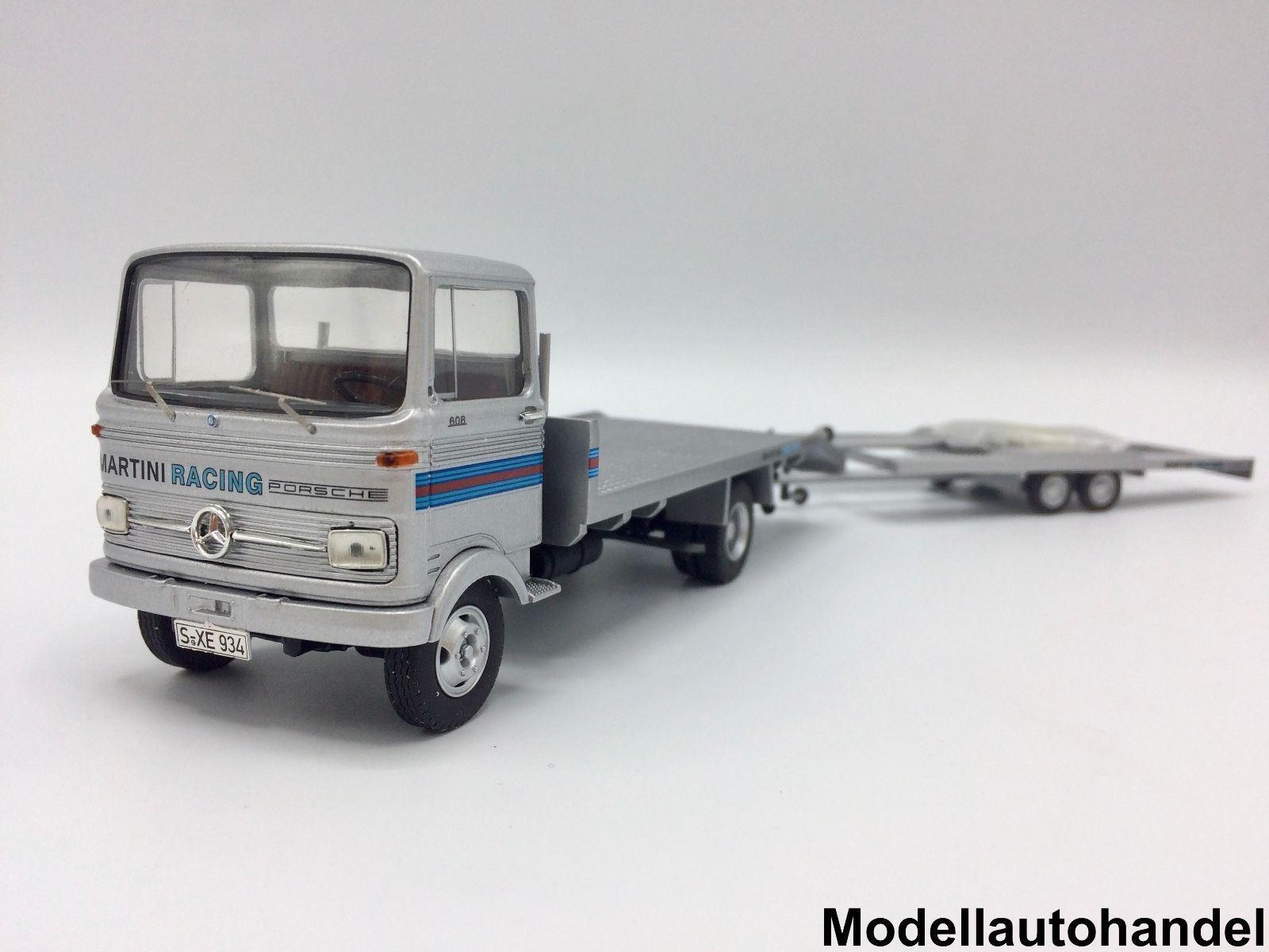 Mercedes LP 608 camiones + porsche martini tráiler-argento -1 43 premium classixxs