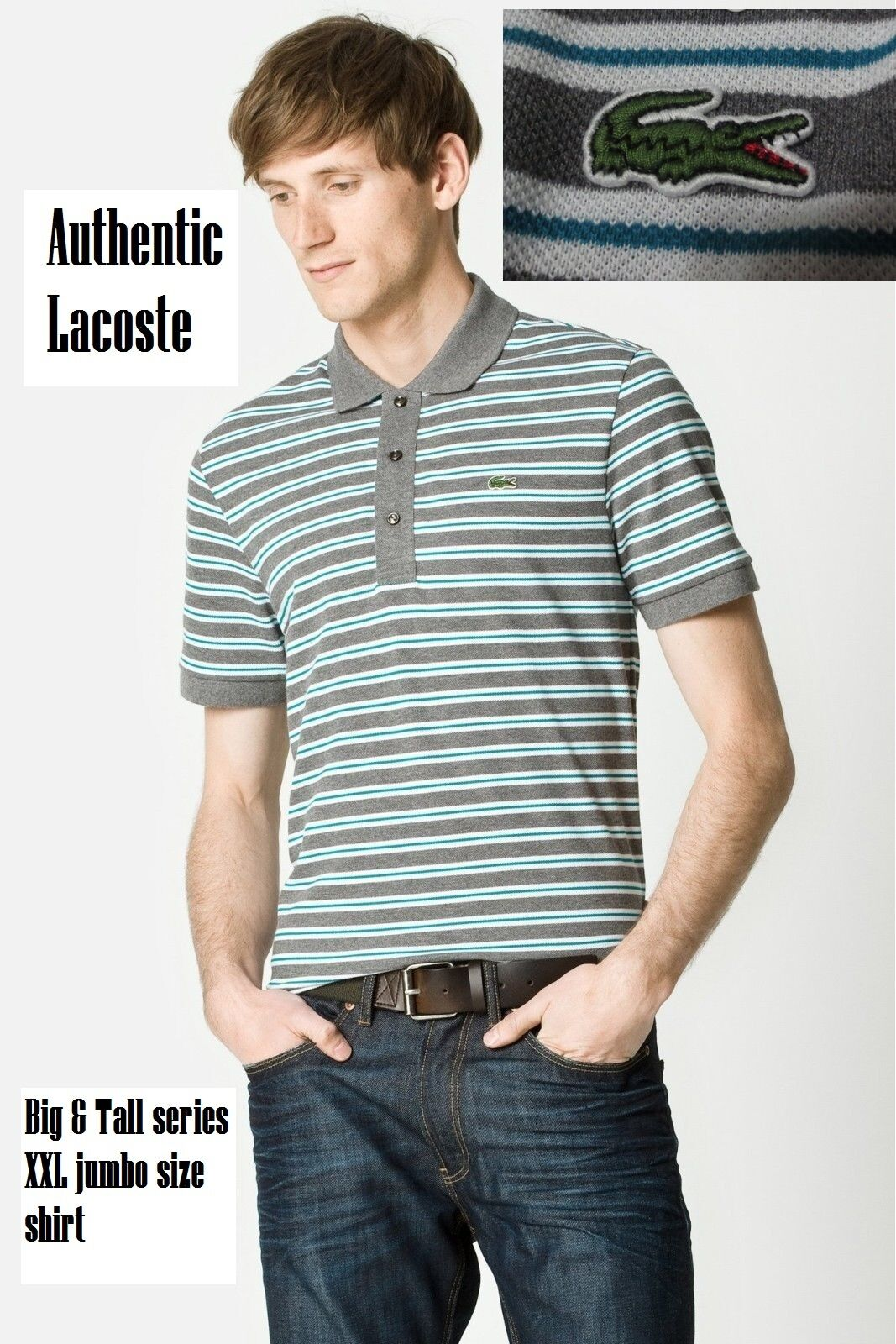 a6c28ab98d Lacoste Men's Big & Tall Fit 2xl Short Sleeve Stone Gray Stripe Pique Polo